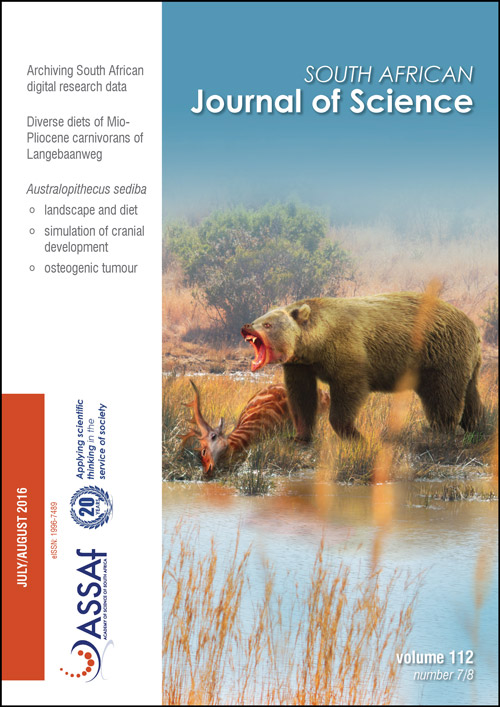 View Vol. 112 No. 7/8 (2016): South African Journal of Science